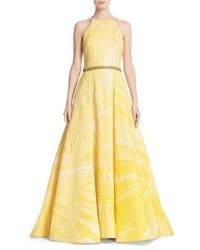 Badgley mischka couture beaded belt halter ballgown medium 1014710