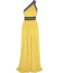 One shoulder grosgrain trimmed silk georgette gown yellow medium 1014709