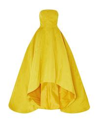 Oscar de la Renta Strapless Asymmetric Cotton Blend Moire Gown