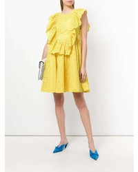 MSGM Eyelet Ruffled Front Sleeveless Day Dress