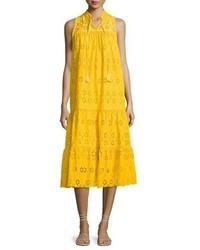 Kate Spade New York Sleeveless Cotton Eyelet Midi Dress Yellow