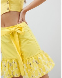ASOS DESIGN Broderie Mini Skirt With Buttons And Tie