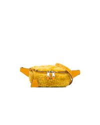Moschino Yellow Logo Shearling Belt Bag