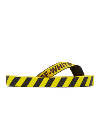 Off-White Yellow And Black Flip Flop Sandals