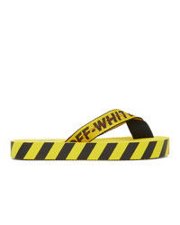 Off-White Yellow And Black Industrial Flip Flops