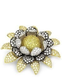 Kenneth Jay Lane Cz By Classic Cubic Zirconia Rhodium Plated Gold Floral Diional Brooch