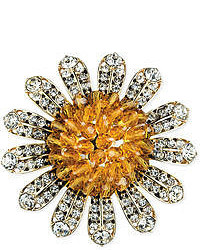 Gold tone orange bead and crystal sunflower pin medium 51832