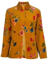 Yellow Floral Button Down Blouse