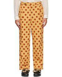 Bode Beige Orange Daisy Trousers