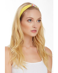 Cara Accessories Floral Solid Looped Narrow Turban Headband