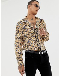 Yellow Floral Long Sleeve Shirt
