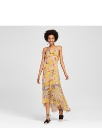 Lily Star Floral Ruffle Maxi Dress Gold