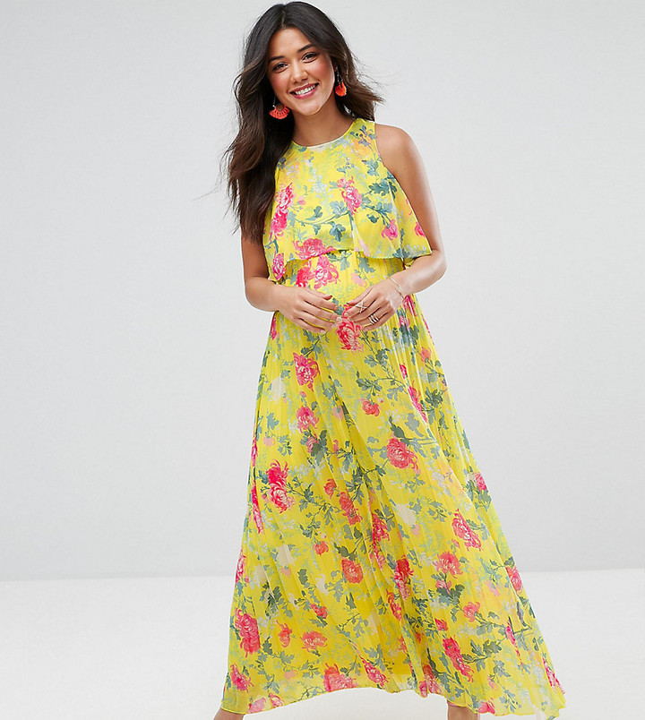 fa774439749 ... Asos Maternity Pleat Skirt Floral Maxi Dress ...