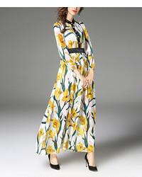 White yellow floral button front maxi dress medium 6698496