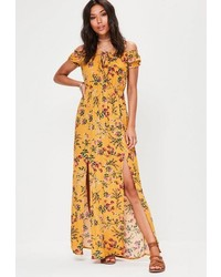 Yellow floral print bardot maxi dress medium 6698497