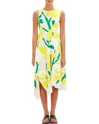 Floral muslin asymmetric dress yellow medium 217409