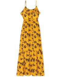 MICHAEL Michael Kors Ruffled Floral Print Crepe Midi Dress