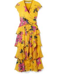 Etro Ruffled Floral Print Silk De Chine Midi Dress