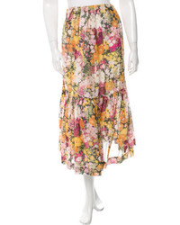 3.1 Phillip Lim Floral Print Gathered Accented Skirt