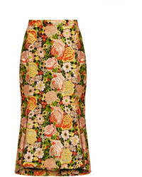 Kick hem embroidered silk skirt medium 1159205