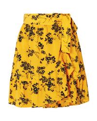 MICHAEL Michael Kors Ruffled Floral Print Crepe Wrap Mini Skirt