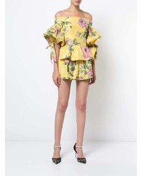 Marchesa Floral Print Off Shoulder Blouse