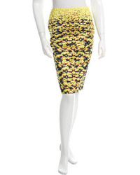 Yellow Floral Pencil Skirt