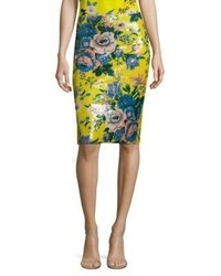 Sequined floral print pencil skirt medium 3743776