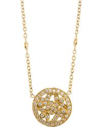 Penny Preville 18k Round Pave Diamond Floral Pendant Necklace