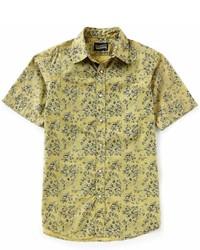 Daniel Cremieux Cremieux Jeans Floral Print Snap Front Short Sleeve Woven Shirt