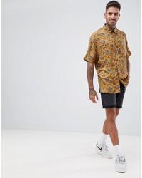 bf696b3634a ... ASOS DESIGN Regular Mustard Paisley Printed Shirt In Viscose