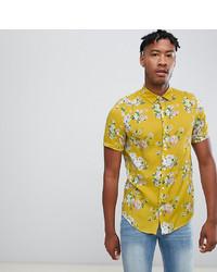 adf3f52b52e84 ... ASOS DESIGN Tall Regular Fit Floral Shirt In Mustard
