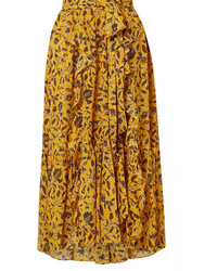 Ulla Johnson F Ruffled Floral Print Silk Cotton And Lurex Blend Skirt
