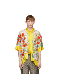 Gucci Yellow And White Silk Flowers Shirt