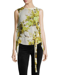 Robert Rodriguez Sleeveless Floral Top W Back Drape Yellow