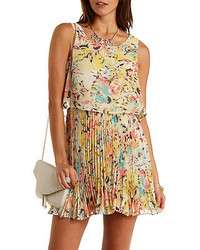 Charlotte Russe Floral Accordian Pleated Skater Dress