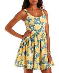 Charlotte Russe Sleeveless Floral Print Skater Dress