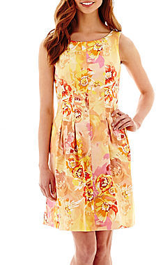 Jcpenney Danny Nicole Sleeveless Floral Print Seamed Fit And Flare Dress