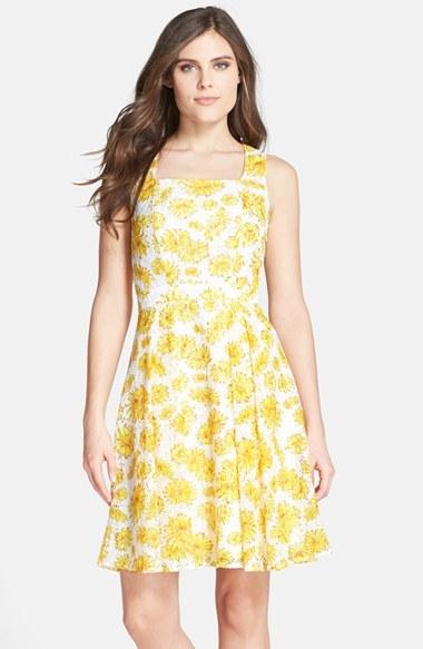 dff79d0f9e57f ... Gabby Skye Floral Print Lace Cross Back Fit Flare Dress ...