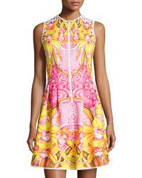 Mackenzie Mode Printed Fit And Flare Scuba Dress Lemon Drop