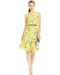 Jones New York Collection Pleated Combo A Line Dress