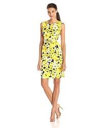 Jones New York Sleeveless Floral Printed Belted Sheath Dress