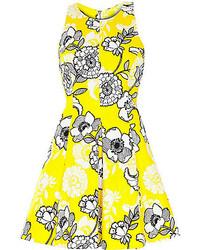 River Island Yellow Floral Print Skater Dress