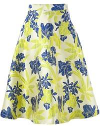 P.A.R.O.S.H. Floral Jacquard A Line Skirt