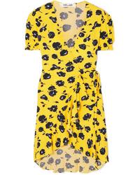 Diane von Furstenberg Kelly Ruffled Floral Print Crepe Wrap Dress