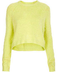 Knitted fluffy crew neck cropped jumper with curve hem detail in yellow 81 acrylic19 nylon machine washable medium 52365