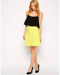 Closet Jacquard Panel Flared Skirt