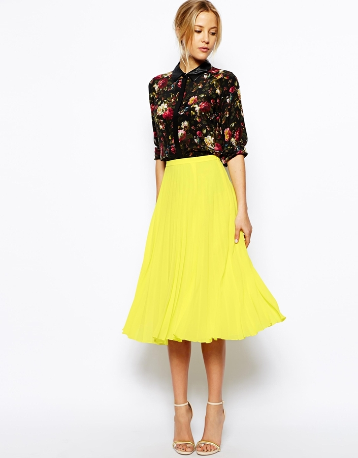 036228a21d Asos Collection Pleated Midi Skirt, $63 | Asos | Lookastic.com
