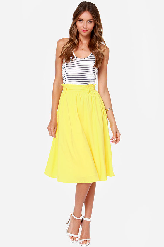 Moon Collection Do Or Tie Canary Yellow Midi Skirt | Where to buy ...