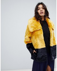 French Connection Faux Fur Coat In Coloublock